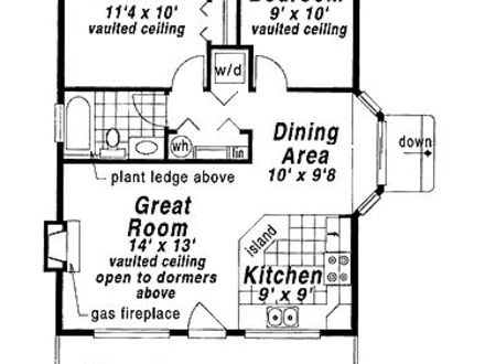 Two bedroom house plans small 2 bedroom cottage house for Two story guest house plans