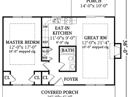 Small One Bedroom House Plans One-Bedroom Open Floor Plans