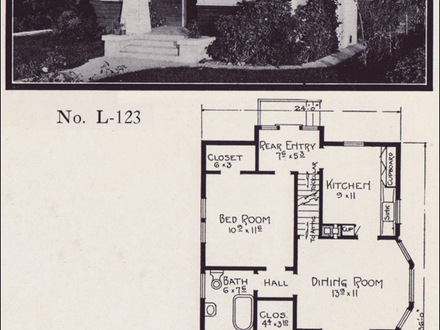 Bungalow floor plans with attached garage 1929 craftsman for Classic cottage house plans