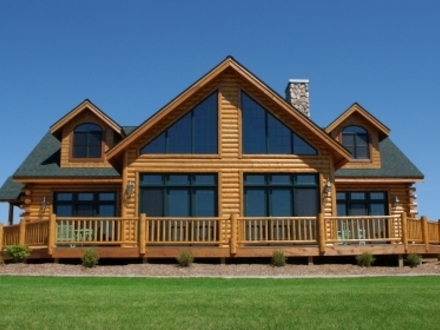 Log cabin kitchens 2 story log cabin homes 2 story log for Chalet style home kits