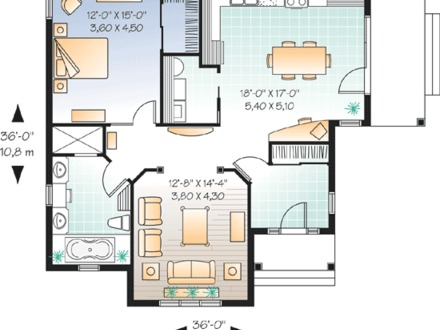 Large 1 bedroom apartment floor plans luxury 1 bedroom for Large house plans 7 bedrooms