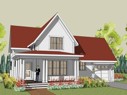 House plan four gables southern living four gables house for Simple farmhouse designs