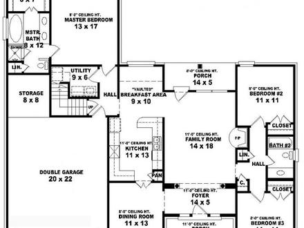 House Floor Plans 3 Bedroom 2 Bath 3 -Story Tiny House Plans