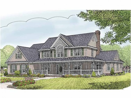 Country homes with wrap around porches home with bow for Old fashioned home plans