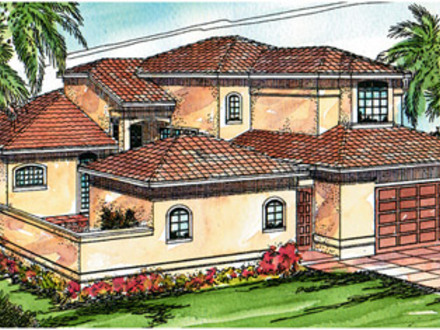 Mediterranean house plans with pools one story for Mediterranean house plans with pool