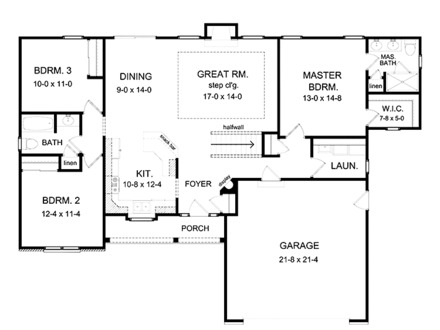 Ranch House Plans with Open Floor Plan Ranch House Plans with Basements