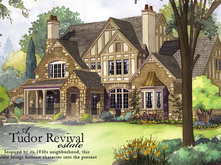 Tudor style house with brick and stone victorian style for English tudor cottage house plans