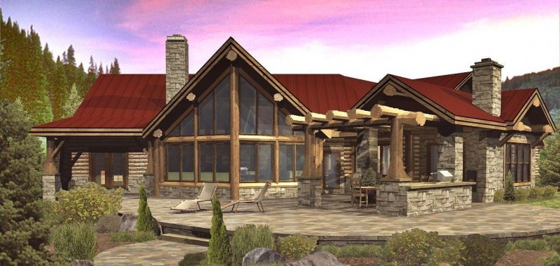 Wisconsin log homes floor plans montana log homes log and for Timber frame ranch home plans