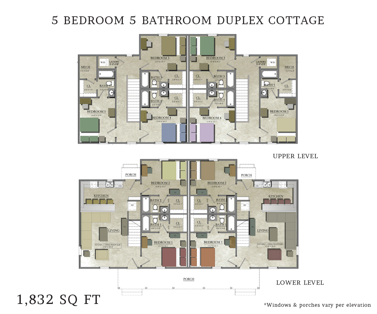 Duplex house plans 5 bedrooms 3 bedroom duplex floor plans for Duplex apartment plans