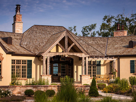 Brick ranch converted to craftsman rustic craftsman ranch for Craftsman style log homes