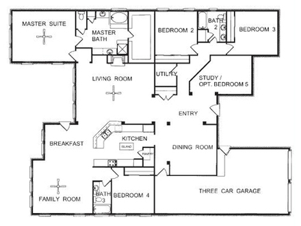 One Story Open Floor House Plans Three-Story House Floor Plans