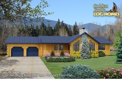 Ranch log homes floor plans single story log homes log for Log cabin ranch floor plans