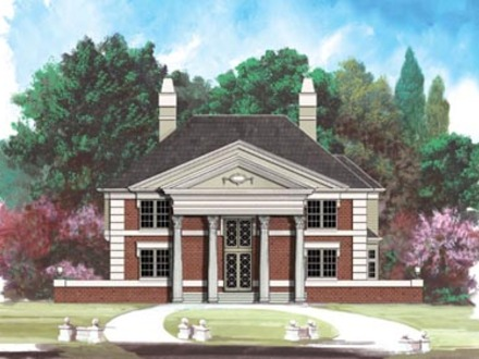2 Story Georgian Style House Plans Greek Revival Style