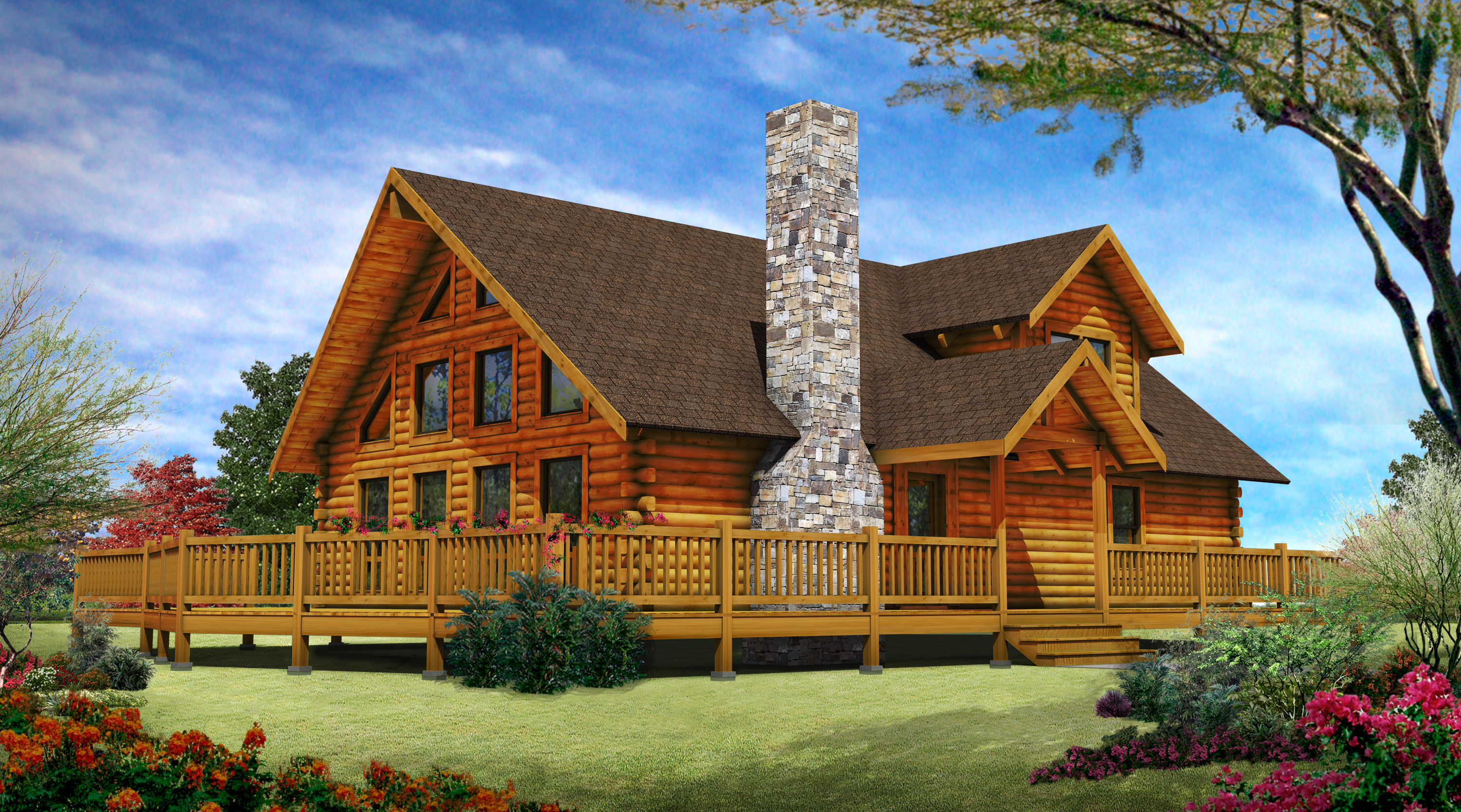 Custom log homes luxury log cabin home designs cabins for Unique log homes