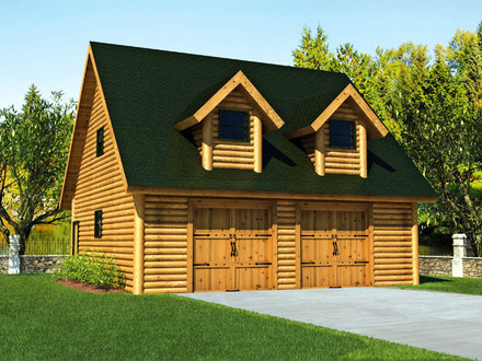 Garages converted into homes log home detached garage log for Detached garage kits