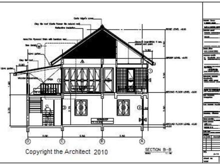 Thai Issan House Plan Traditional Thai House Drawing