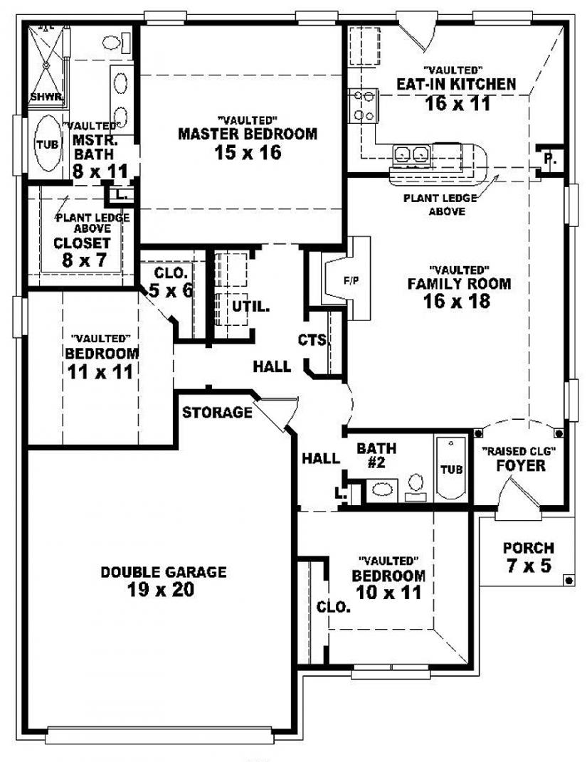 3 Bedroom 2 Bath 1 Story House Plans 3 Bedroom 2 Bath ...