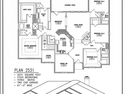 Floor plan and back side view house plans with side entry for House plans with garage in back