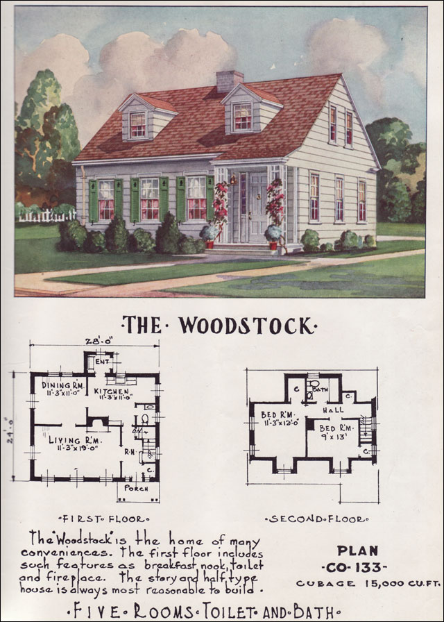 Small Modern Cape Cod House Plan Cathedral Ceiling 1 Car: Small Colonial House Small Cape Cod House Plans, 1950s