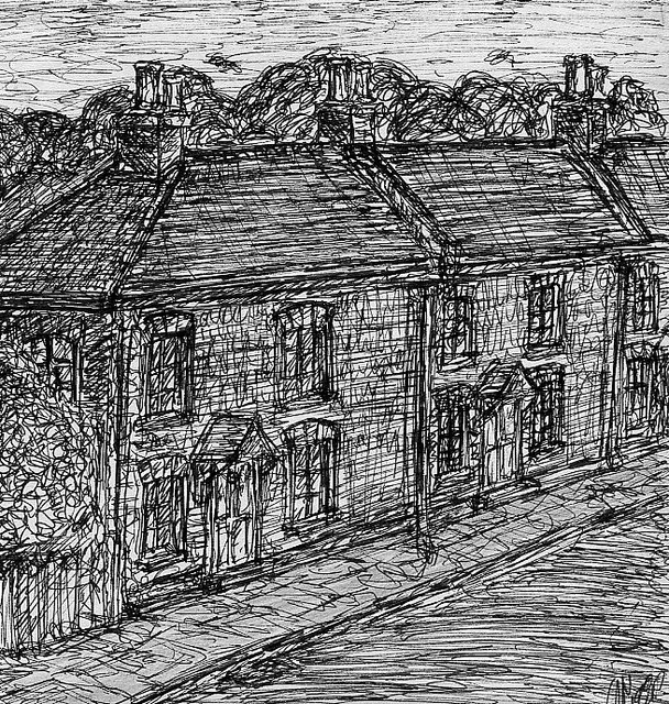 Country Houseplans: Old Cottage Drawings Old Western Town Drawing, Drawings Of