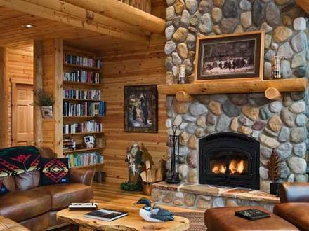 Log Cabin Great Room Fireplace Log Home Great Rooms