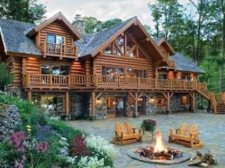 Small log cabin home designs small log cabin floor plans for Large luxury log homes