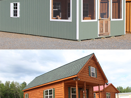 painted 12 x 24 to 14 x 44 or log sided camps many design variations 12 X 24 Lofted Cabin