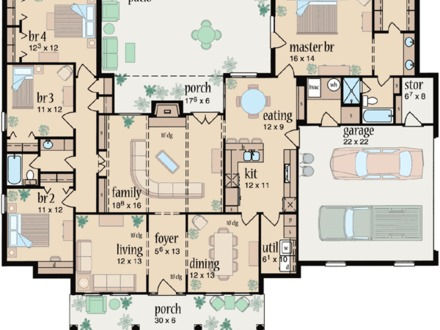 Large Ranch House One Story Ranch House Floor Plans Ranch