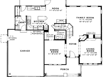 Floor Plan Of Bungalow Country European Traditional House