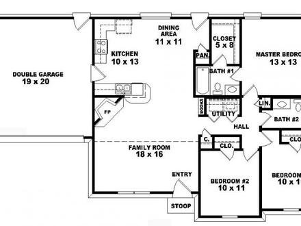 3 Bedroom Apartment Floor Plans 3 Bedroom One Story House Plans