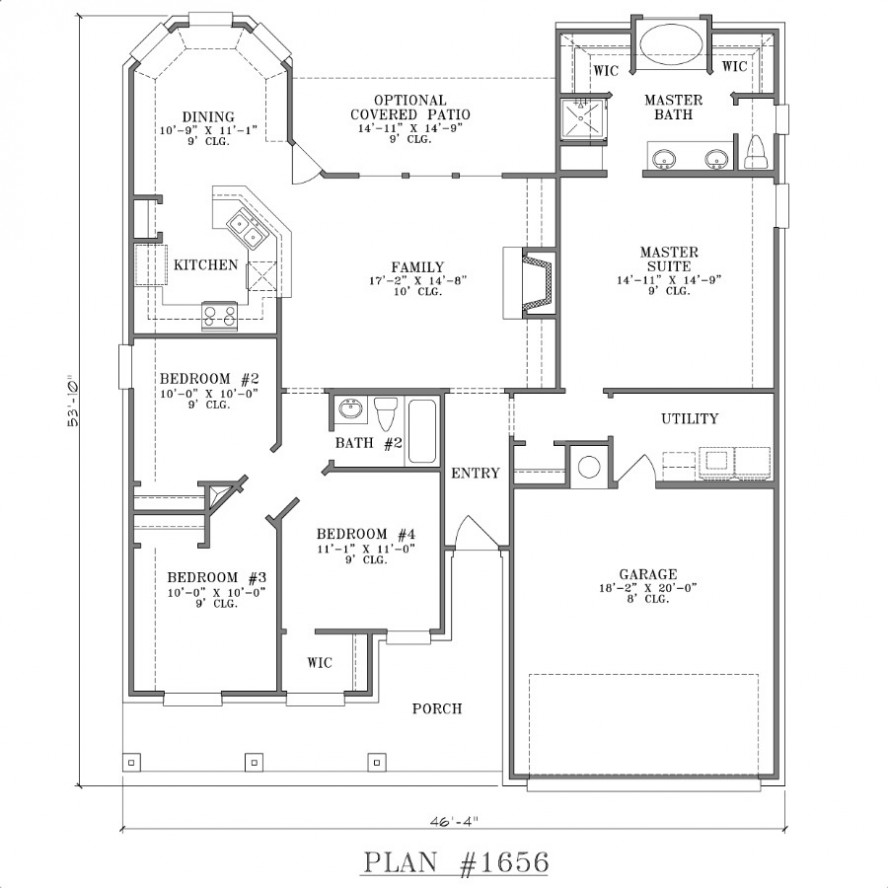 Large 2 bedroom house plans small two bedroom house floor for Large 2 bedroom house plans