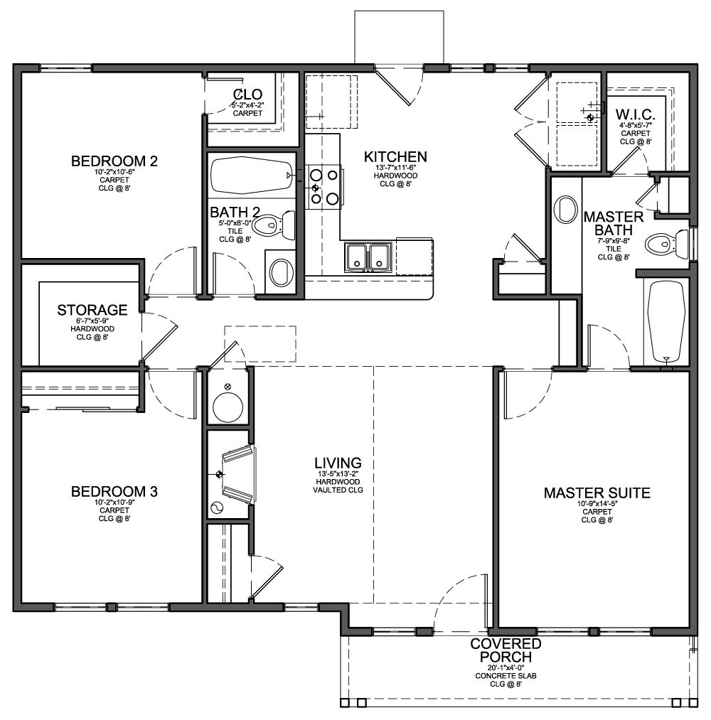 Small 3 Bedroom House Floor Plans Cheap 4 Bedroom House ...