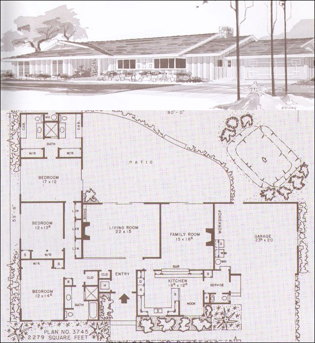 Mid century modern ranch house plan with courtyard potential Mid-Century Modern Homes