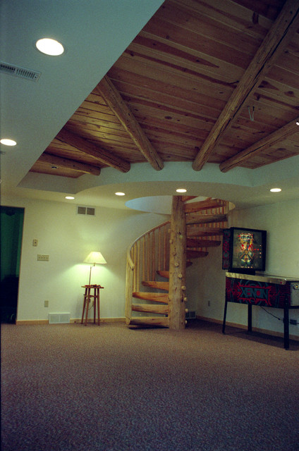 Rustic log cabin basement inside log cabin log cabin for Log cabin basement ideas
