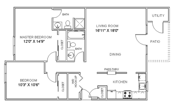 Cheap 2 bedroom apartments 2 bedroom apartment floor plan 2 bedroom floor plans for Reasonable 2 bedroom apartments