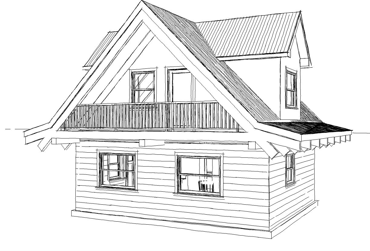 Simple small house floor plans small guest cottage plans for Simple cabin house plans