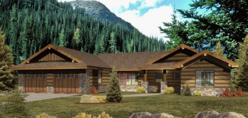 Ranch style log home plans craftsman style log homes for Craftsman style log homes