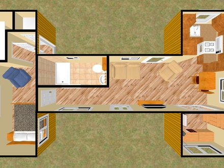 Shipping Container 2D 3D Shipping Container Homes Plans