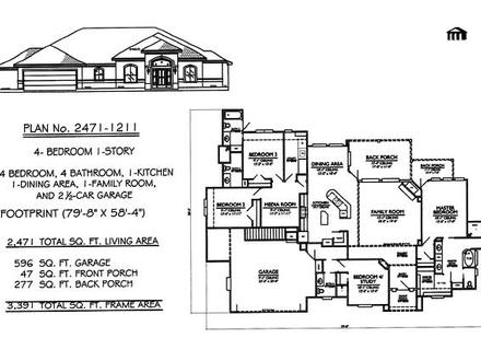 1 Story 4 Bedroom House Plans 4 Bedroom House