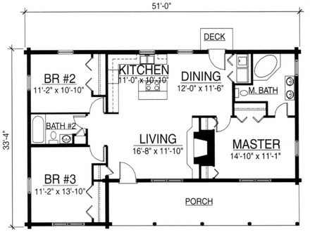 Small ranch house plans small house floor plans 24x24 two for Two bedroom log cabin plans