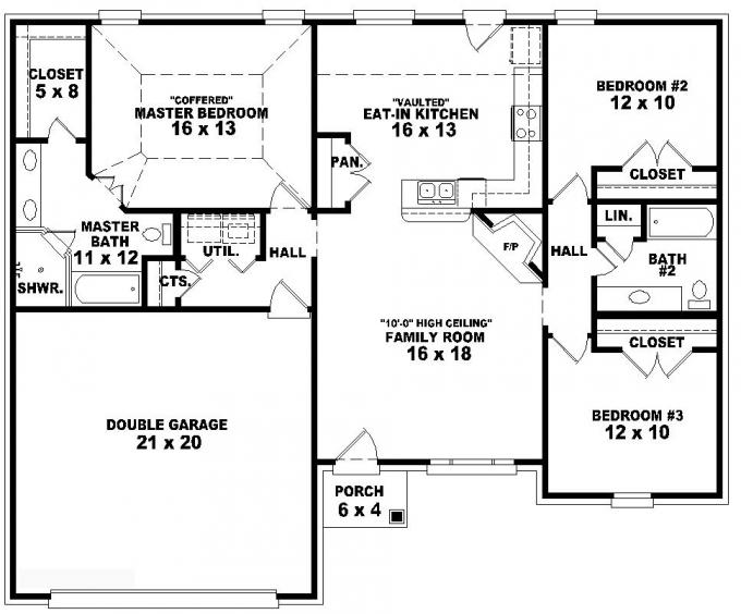 3-Bedroom Duplex Floor Plans 3 Bedroom One Story House Plans
