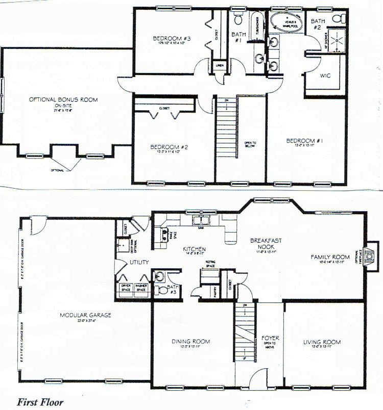 Basement Bedrooms 2 Story 3 Bedroom House Plans 1 Story