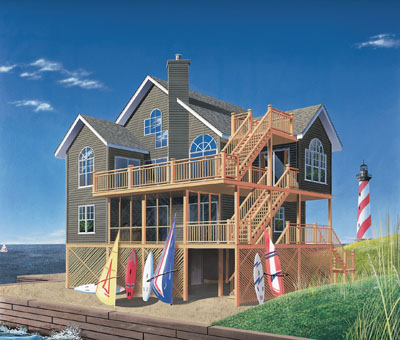 House with Roof Deck 3 Story Beach House Plans