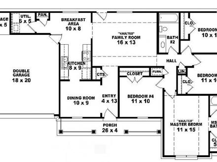 4 Bedroom One Story Ranch House Plans Inside 4-Bedroom