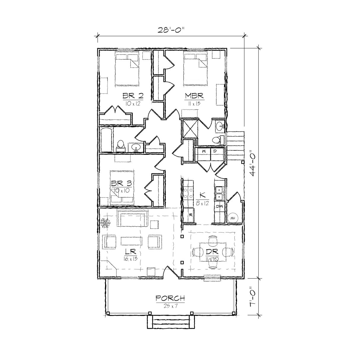 Single story open floor plans simple bungalow floor plans for Simple one level house plans