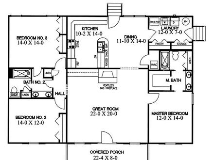 Small home open floor house plans small open concept homes for Ranch home floor plans split bedrooms