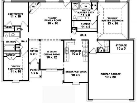 4 Bedroom One Story House Plans Residential House Plans 4 Bedrooms