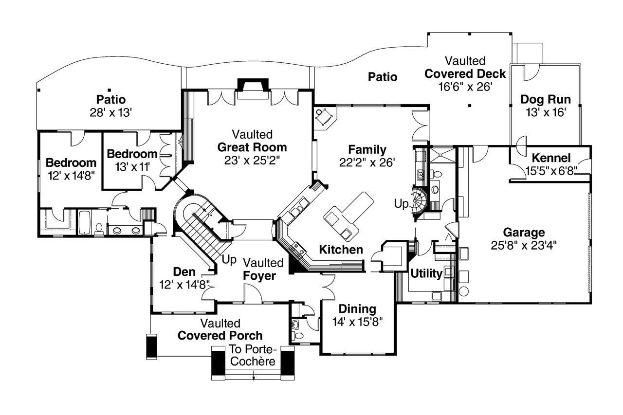Modern day dog trot houses dog run style house plans for Modern day house plans
