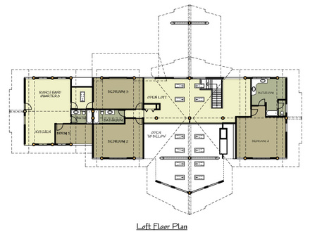 1-Story Log Home Plans Ranch Log Home Floor Plans with Loft
