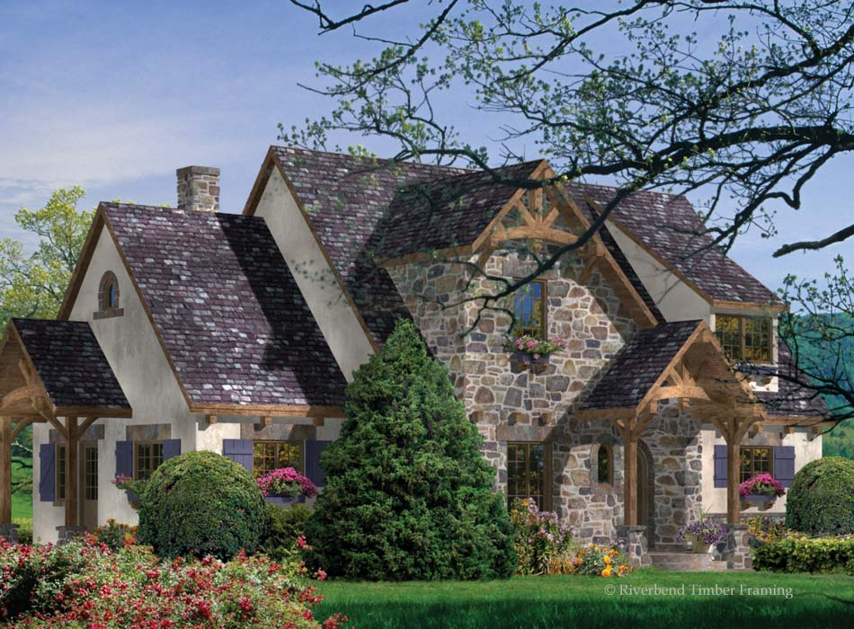French stucco cottage house plans small cottage style for Stucco home floor plans